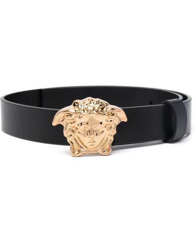 Черный кожаный ремень с поясом Young Versace