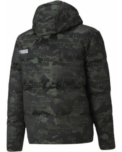 Пуховая зеленая куртка с капюшоном Puma