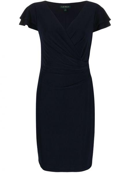 Синее коктейльное платье с V-образным вырезом с короткими рукавами Polo Ralph Lauren