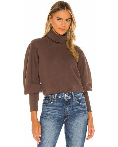 Frotte brązowy bluza z mankietami z dekoltem Agolde