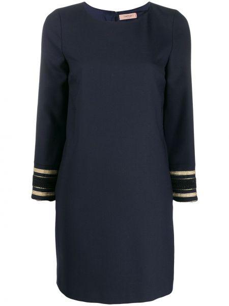 Шерстяное с рукавами синее платье макси Twin-set