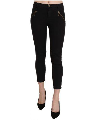 Czarne spodnie z niskim stanem Plein Sud