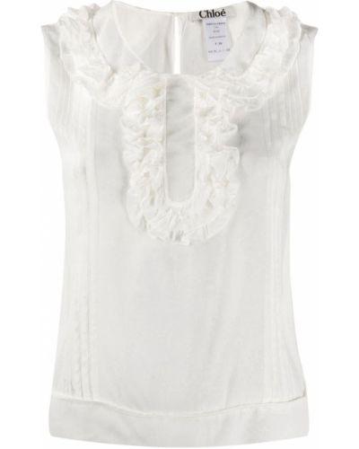 Biała bluzka bez rękawów z jedwabiu Rewind Vintage Affairs