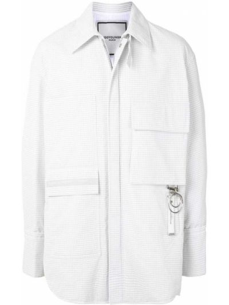 Классическая белая нейлоновая куртка с воротником Wooyoungmi