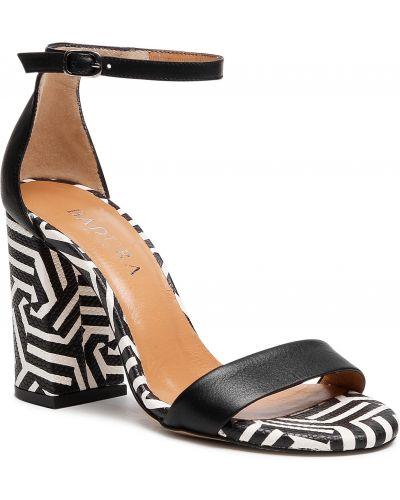Sandały skórzane - czarne Badura