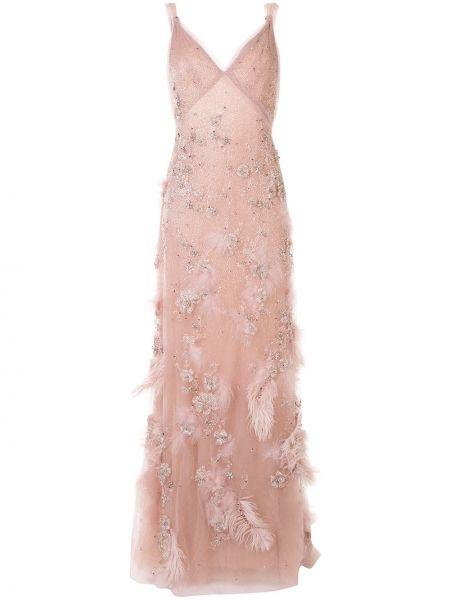 Нейлоновое розовое вечернее платье с вышивкой на бретелях Marchesa