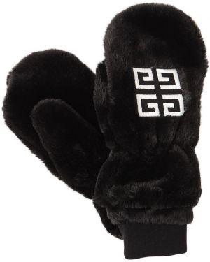 Czarne rękawiczki z haftem Givenchy