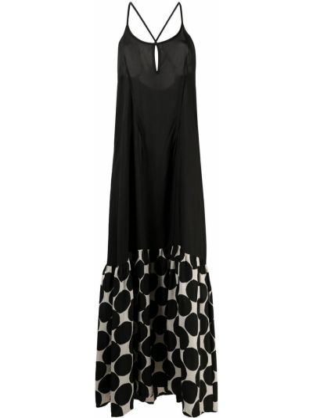 Черное платье макси с вырезом на молнии Masnada