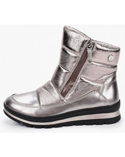 Серебряные кожаные дутики Caprice