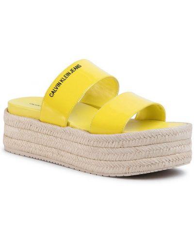 Żółte espadryle Calvin Klein Jeans