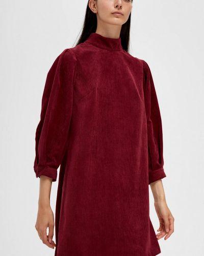 Прямое бордовое платье Lime