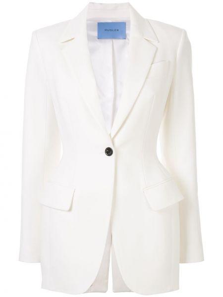 Шерстяной белый удлиненный пиджак с карманами Mugler