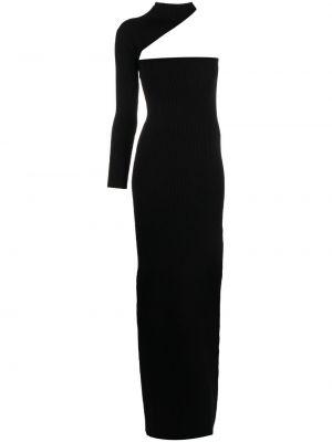 Prążkowana czarna sukienka długa z wiskozy Wandering