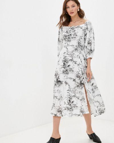Белое платье с открытыми плечами Imocean