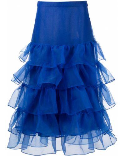 Юбка миди с завышенной талией - синяя Cynthia Rowley