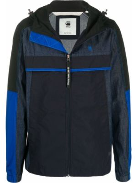 Хлопковая приталенная синяя куртка с капюшоном с манжетами G-star Raw