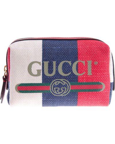Косметичка кожаная с принтом Gucci