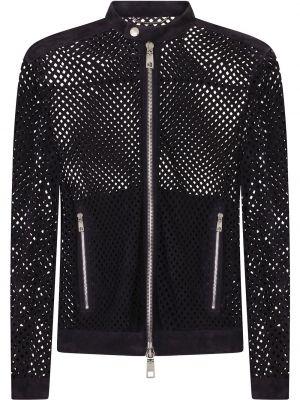 Кожаная куртка с перфорацией - черная Dolce & Gabbana