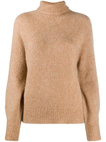 С рукавами вязаный свитер из альпаки в рубчик Drumohr