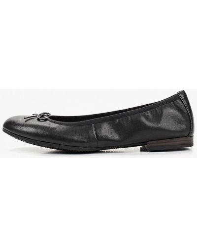 Черные балетки кожаные Tamaris