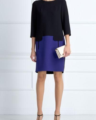 Платье в рубчик с карманами Oscar De La Renta