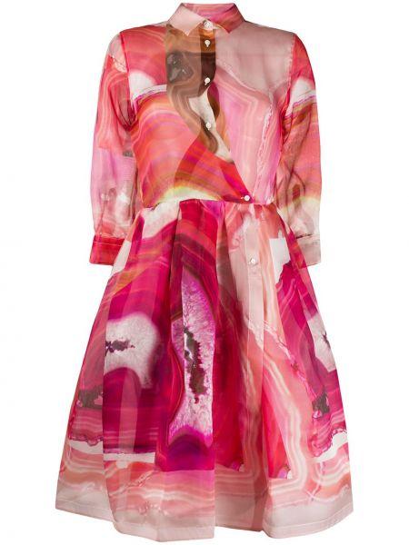 Расклешенное приталенное классическое платье миди на пуговицах Sara Roka