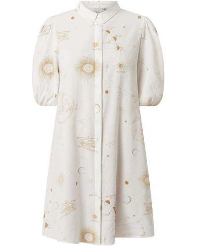Biała sukienka mini rozkloszowana z wiskozy Ichi