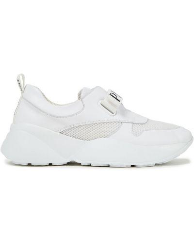 Białe sneakersy skorzane na rzepy Emilio Pucci