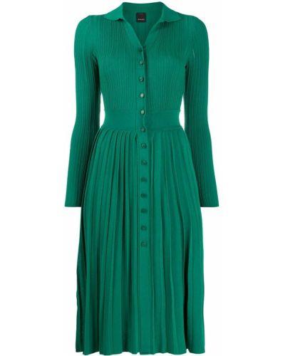 Трикотажное зеленое платье миди с разрезом Pinko