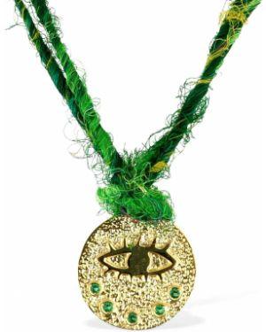 Zielony złoty naszyjnik z cyrkoniami Hermina Athens