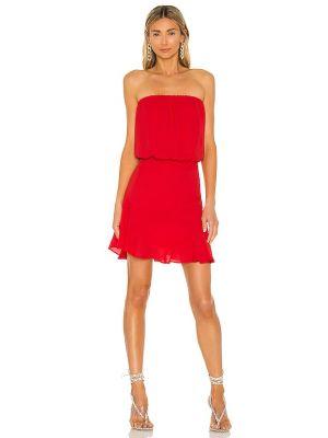 Текстильное красное платье мини с декольте Krisa