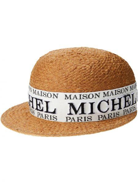 Кепка с прямым козырьком с логотипом Maison Michel