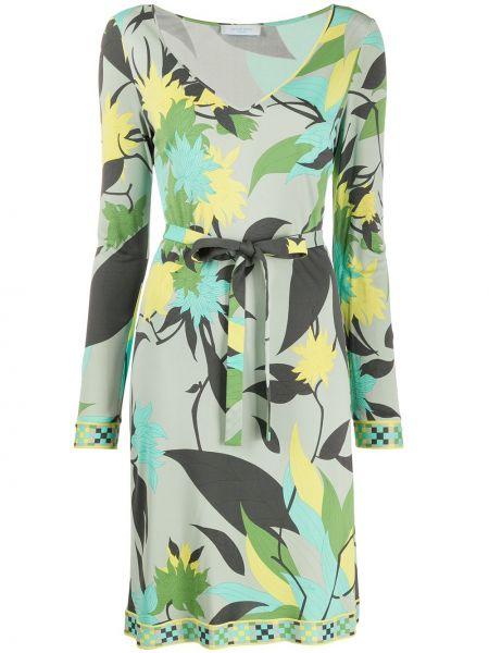 Платье с поясом винтажная с V-образным вырезом Emilio Pucci Pre-owned