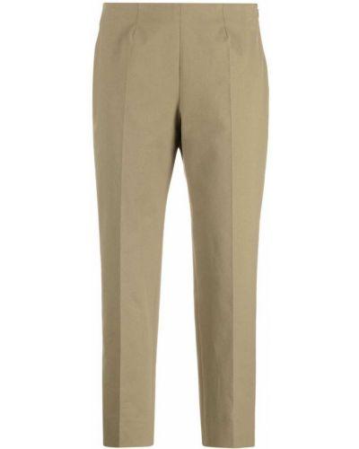 Хлопковые прямые зеленые укороченные брюки Piazza Sempione