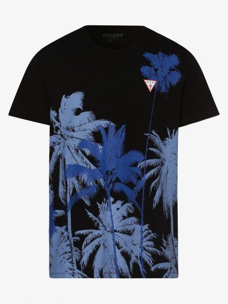 Ciepły czarny t-shirt Guess