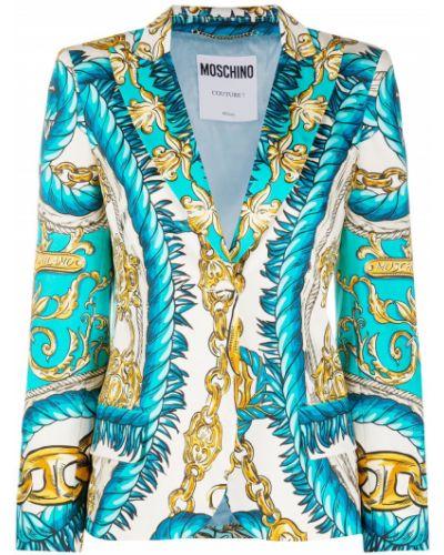 Хлопковый синий удлиненный пиджак на пуговицах Moschino