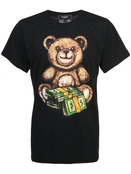 Koszula krótkie z krótkim rękawem z nadrukiem czarna Domrebel