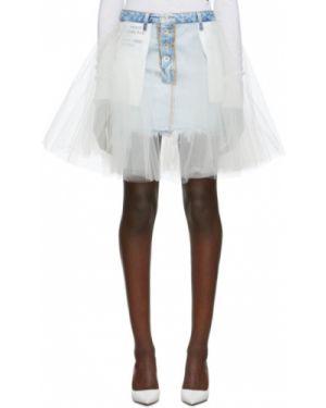 Asymetryczny czarny spódnica maxi z kieszeniami z tiulu Unravel