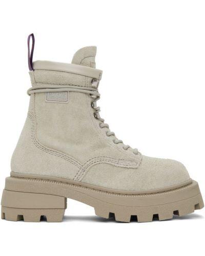 Skórzany fioletowy buty na wysokości zasznurować z łatami Eytys