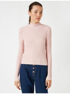 Różowy długi sweter z wiskozy z długimi rękawami Koton