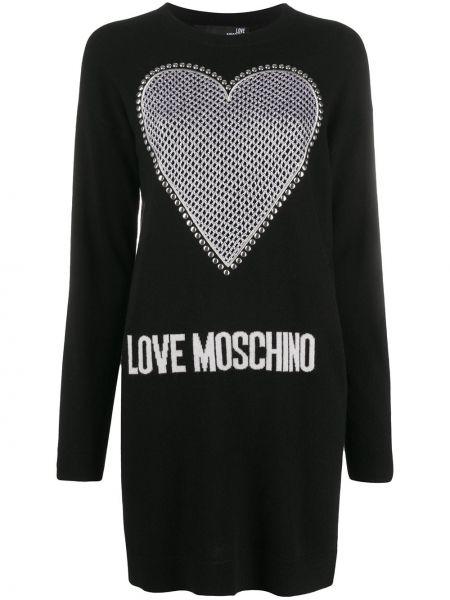 С рукавами шерстяное черное платье макси Love Moschino