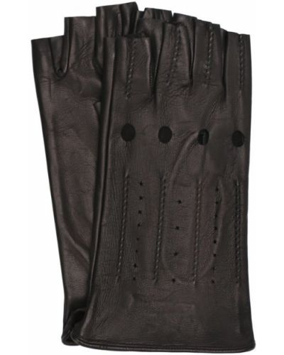 Кожаные перчатки черные с перфорацией Sermoneta Gloves