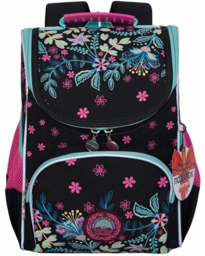 Текстильный черный школьный ранец на бретелях Grizzly