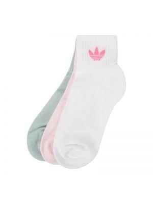Prążkowane różowe skarpety bawełniane Adidas Originals