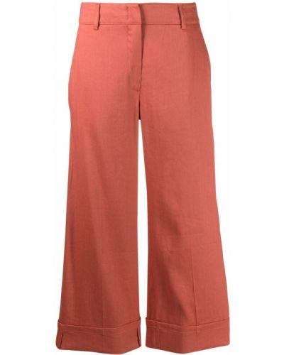 Оранжевые с завышенной талией укороченные брюки с карманами Seventy