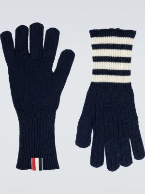 Prążkowane z kaszmiru niebieskie rękawiczki Thom Browne