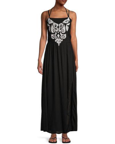 С ремешком черное платье макси с вышивкой Tiare Hawaii