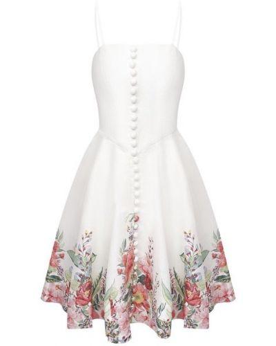Бежевое льняное платье с подкладкой Zimmermann