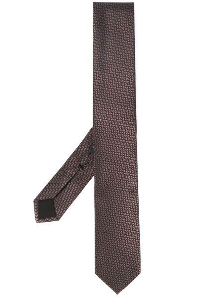 Коричневый шелковый галстук Boss Hugo Boss