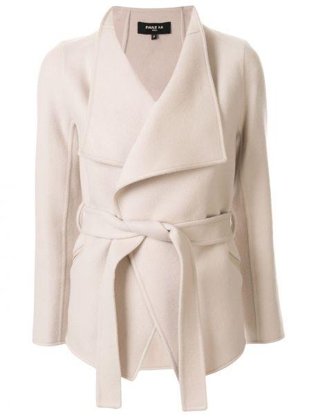 Шерстяная короткая куртка с поясом с воротником Paule Ka